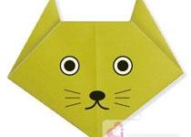 儿童动物折纸教程:小猫猫折纸