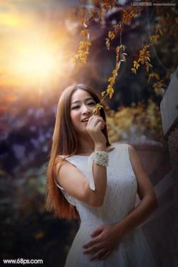 Photoshop给外景人像照片添加阳光装饰效果