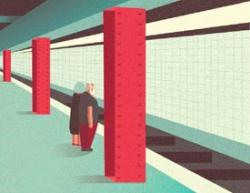 Illustrator绘制在地铁上等车的老夫妻