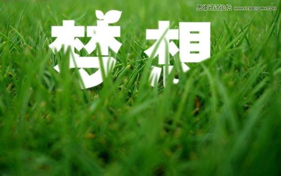 效果图 草丛/Photoshop制作春季草丛中的艺术字教程