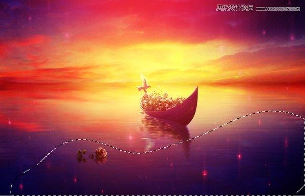 Photoshop合成梦幻风格的湖中小舟场景图,PS教程,素材中国