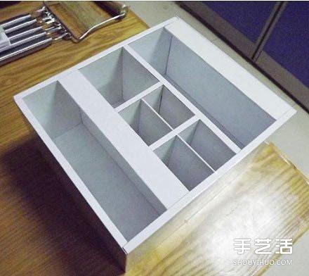 纸箱废物利用手工制作好用的柜子的过程图解