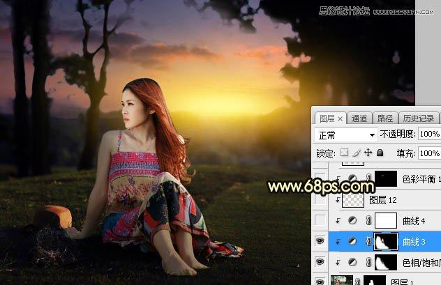 Photoshop给外景草地美女添加夕阳光效效果,PS教程,素材中国网