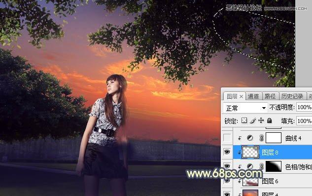 Photoshop给外景照片添加夕阳美景效果图,PS教程,素材中国网