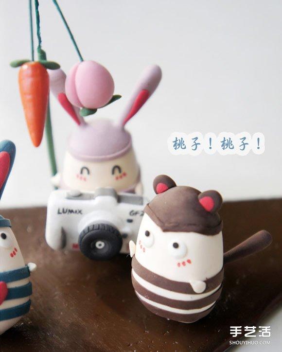 越狱兔软陶diy作品 可爱手工粘土兔子图片_粘土教程