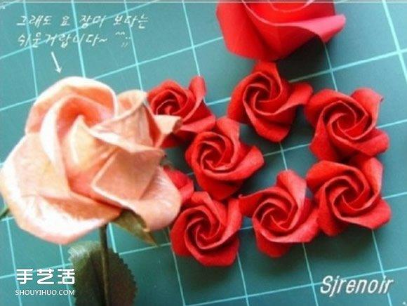 纸玫瑰的折法图解 简单旋转玫瑰折纸一步一步