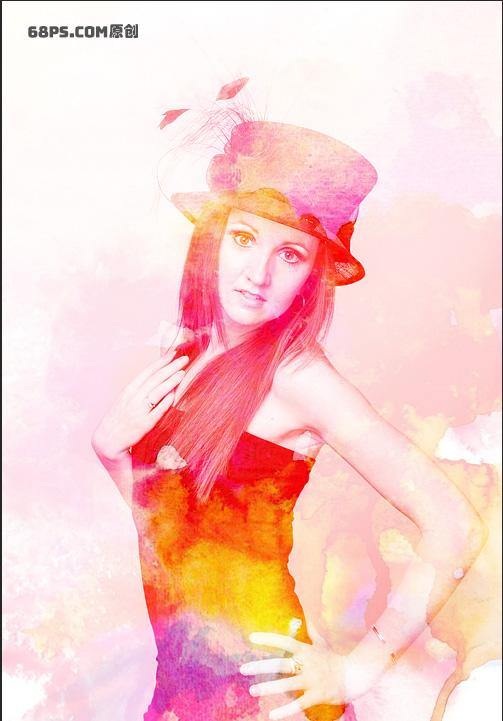 Photoshop快速给人像添加水彩涂抹背景效果,PS教程,素材中国网