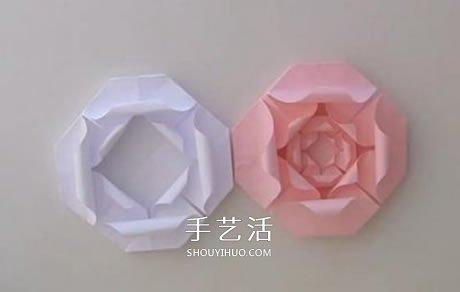 扁平玫瑰花的折法图解 组合式平玫瑰折纸教程 -