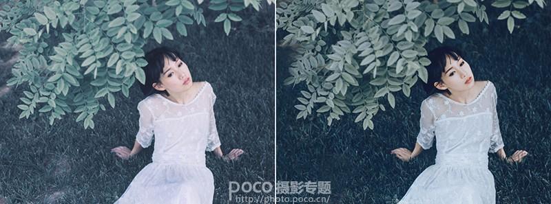Photoshop调出人像照片唯美暗蓝色效果,PS教程,素材中国网
