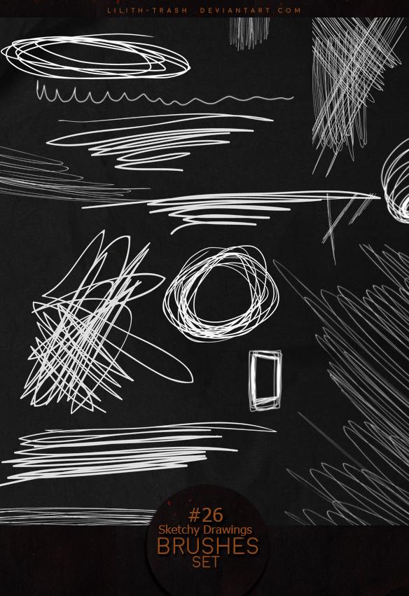 杂乱铅笔画线条装饰PS笔刷