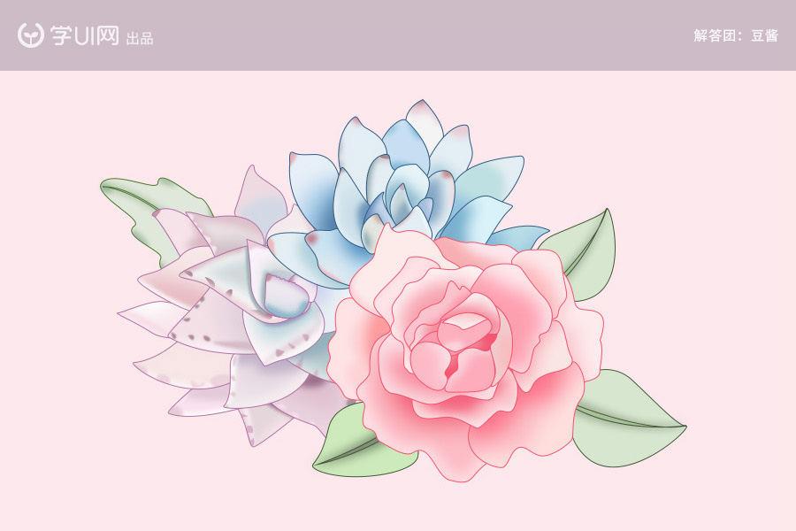 Photoshop简单的绘制水彩风格花朵