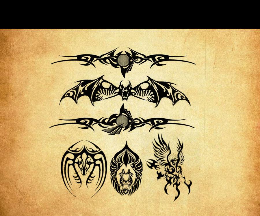 蝙蝠形状花纹纹身和刺青ps笔刷