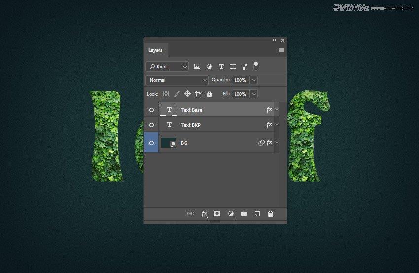 绿叶字体:用PS制作叶子组成的立体字,PS教程,素材中国网