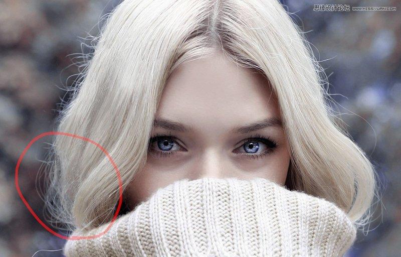 头发修图:用PS去除人像中的杂乱头发,PS教程,素材中国网